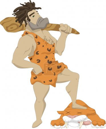 Illustration for Illustration of a caveman with a club in his hands, at his feet lies the carcass of a lion killed - Royalty Free Image