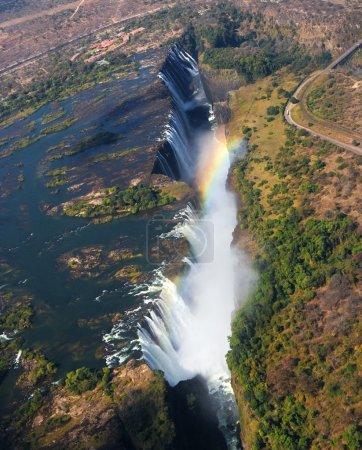 Victoria Falls. A general view of a rainbow