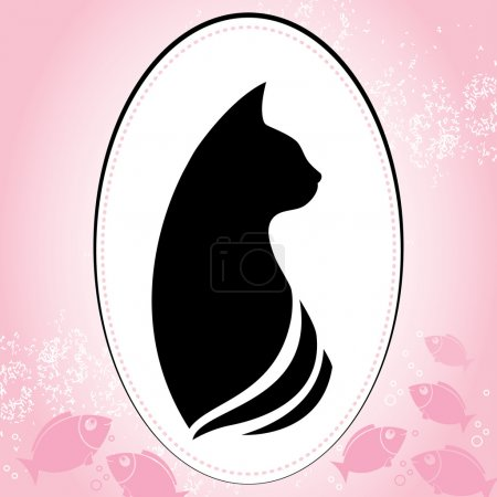 Silhouette of a cat head in round frame