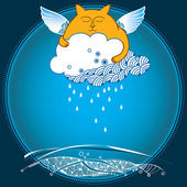 Funny cat with rainy cloud. Series of comic cats