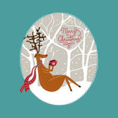 Christmas card with   sitting deer