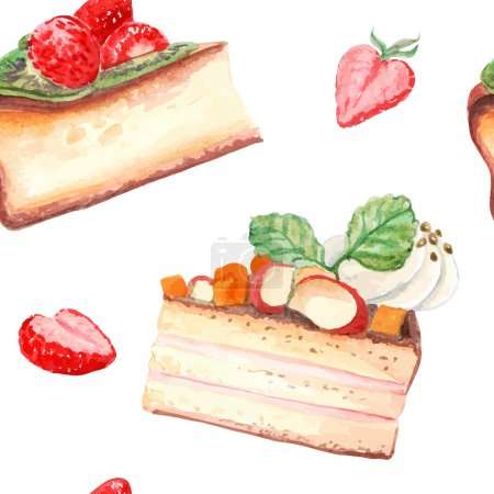 Watercolor sweets seamless pattern.