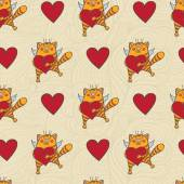 Vector  flying cat with a heart seamless pattern It can be used for wallpaper fabric design textile design cover wrapping paper banner card background