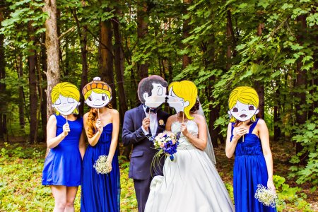 Photo for Wedding party,  groomsmen and bridesmaids wearing masks in nature - Royalty Free Image
