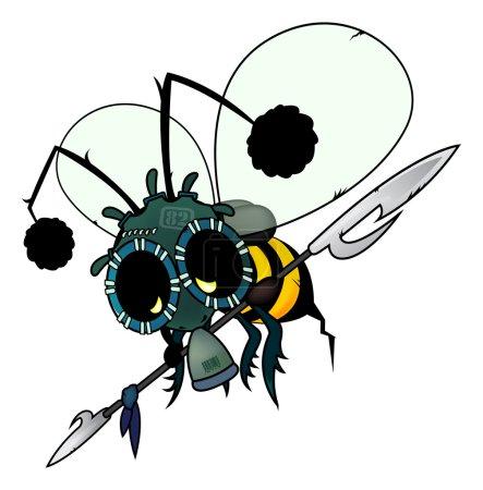 Illustration pour Illustration imaginaire futuriste. abeille armée avec masque à gaz isolé sur fond blanc - image libre de droit