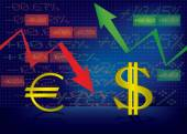 Dollar growthEuro decline illustration