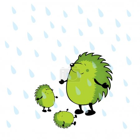 Hedgehogs having fun under rain