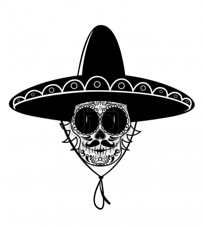 Illustration for Dead gunman. Black and white Mexican sugar skull isolated on white background - Royalty Free Image