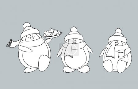 Christmas penguins coloring book