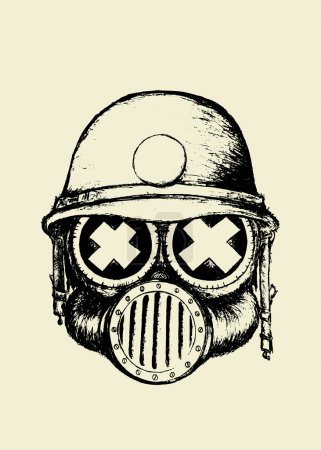 Illustration for War skull with helmet and gas mask.Coloring book illustration - Royalty Free Image