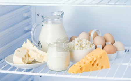 Eggs and tasty dairy products: sour cream, cottage cheese, milk,