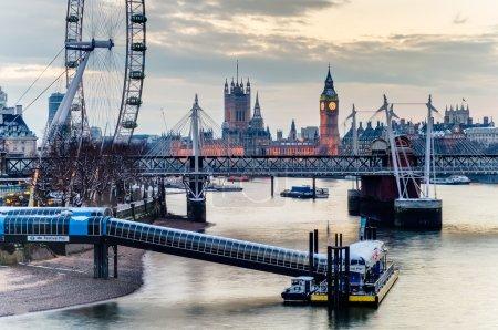 London Eye, Westminster Bridge and Big Ben in the Evening