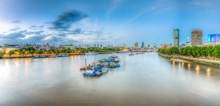Photo for Panorama of St. Paul Cathedral, Somerset House and Skylines From Waterloo Bridge along River Thames in London England, United Kingdom. - Royalty Free Image
