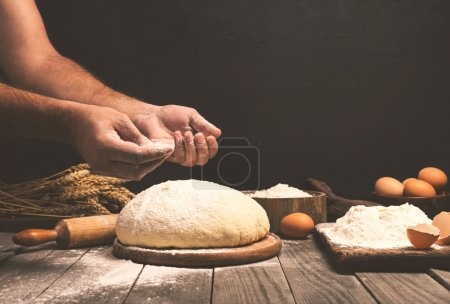 Man preparing bread dough