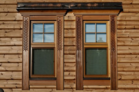 luxury wooden window closeup