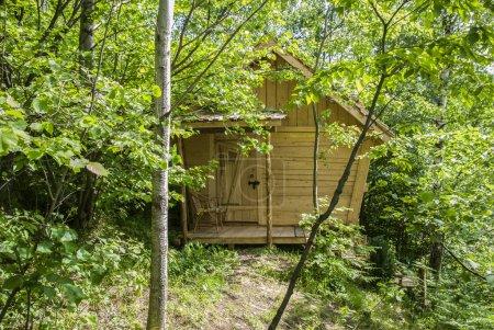 Photo pour Cabane dans les montagnes, abri, abri parmi les arbres, la cabane dans les bois, maison en bois dans les bois, coupe-bois chalet, lieu mystérieux , - image libre de droit