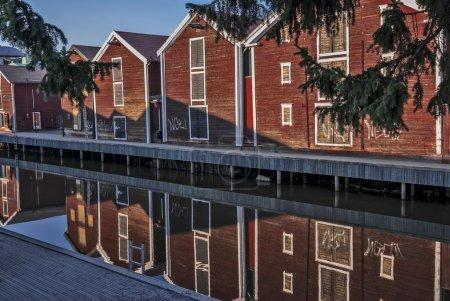 Fishing warehouses in the city center in Hudiksvall, Sweden
