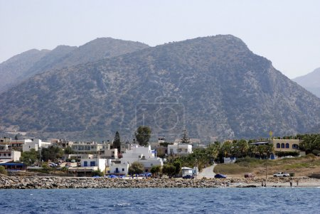 Partial view of the island of Crete with a picturesque mountain landscape