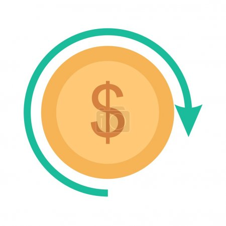 Illustration for Exchange, dollar, profit, return icon vector image. Can also be used for seo, digital marketing, technology. Suitable for use on web apps, mobile apps and print media. - Royalty Free Image