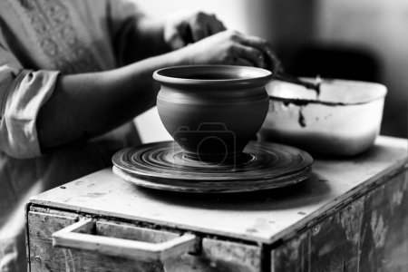 Pottery Craft Ceramic Clay In Potter Human Hand. Toned Instant P