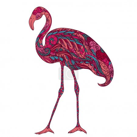 Flamingo decorated with oriental ornaments. Vintage colorful hand drawn vector illustration