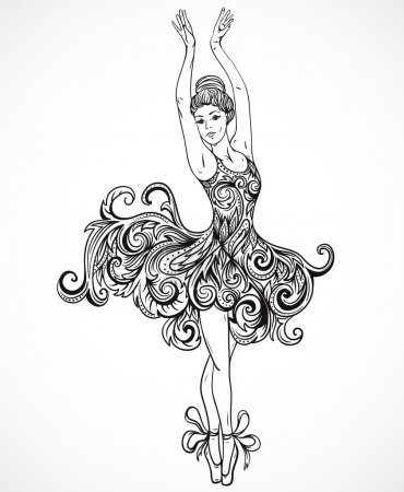 Illustration for Ballerina with floral ornament dress. Vintage black and white hand drawn vector illustration in sketch style - Royalty Free Image
