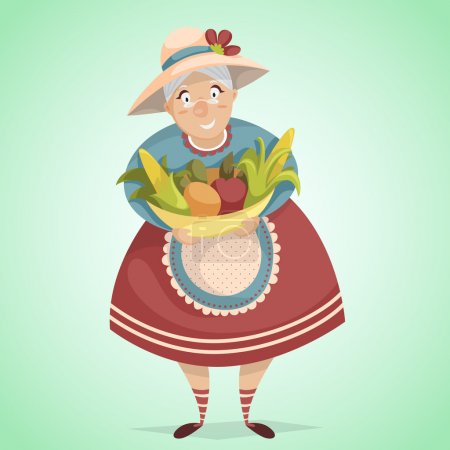 Cartoon old woman farmer character with harvest. Farm fresh concept. Vector illustration in retro style