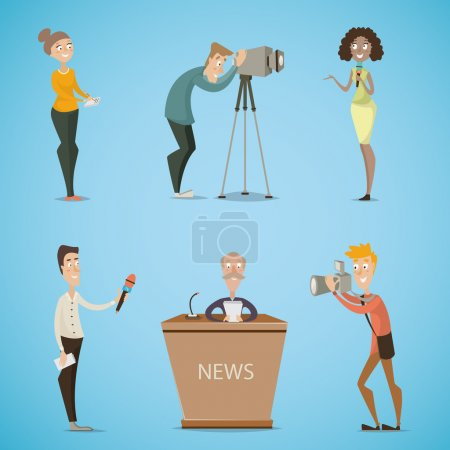 Journalists, reporters, cameraman, photographer. Collection of cartoon characters. Mass media, live news, reports, interviews, tv broadcasting concept . Vector illustration