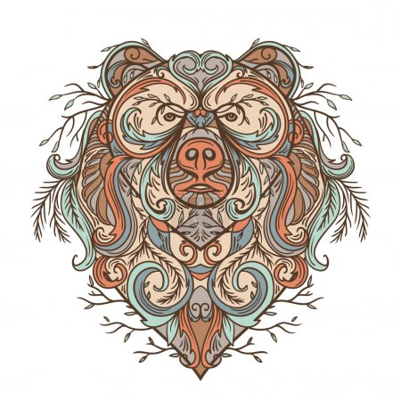 Illustration for Bear with abstract floral ornament. Tattoo art in boho style. Retro banner, card, scrap booking, t-shirt, bag, postcard, poster. Highly detailed vintage hand drawn vector illustration - Royalty Free Image