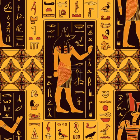 Seamless pattern with egyptian gods and ancient eg...