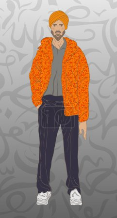 Illustration for Muslim man fashion arabian portrait - Royalty Free Image