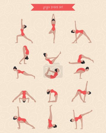 Hand drawing character woman practicing yoga for design. Female silhouette of yoga poses set