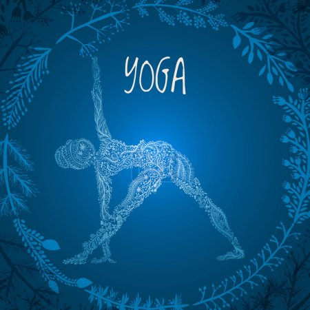 Hand drawing female silhouette practicing yoga pose with frame from wreath made of floral ornament for design Vector illustration. Spa consent, yoga studio, or natural medicine clinic.