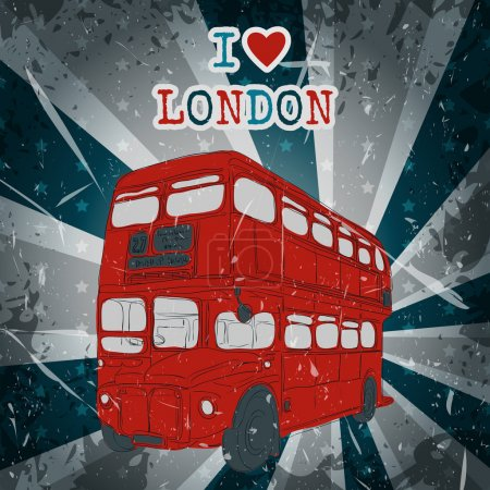 Vintage label with English bus on the grunge background. Retro hand drawn vector illustration poster in sketch style ' I love london'