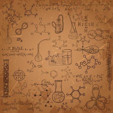 Illustration for Old chemistry laboratory pattern set. Vintage vector background - Royalty Free Image