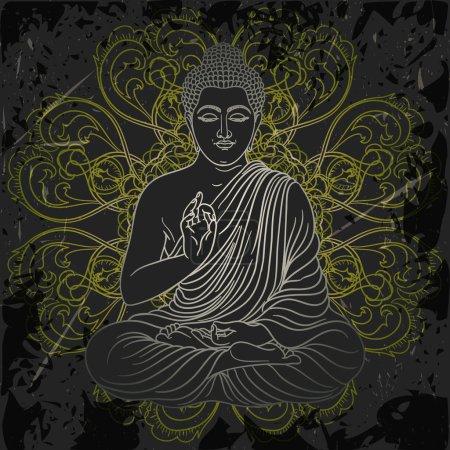 affiche avec assis Bouddha sur le grunge fond sur mandala orné rond motif. Retro main dessinée illustration vectorielle
