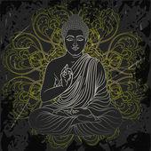Vintage poster with sitting Buddha on the grunge background over ornate mandala round pattern Retro hand drawn vector illustration
