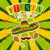 Mexican Fiesta Party Invitation with maracas sombrero and mustache Hand drawn vector illustration poster with grunge background