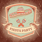 Mexican Fiesta Party label with maracas sombrero Hand drawn vector illustration poster with grunge background Flyer or greeting card template
