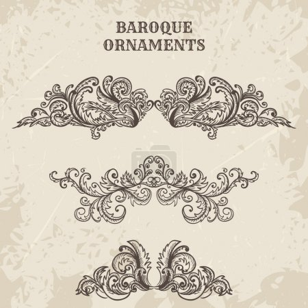 antique and baroque cartouche ornaments vector set. Vintage architectural details design elements on grunge background in sketch style