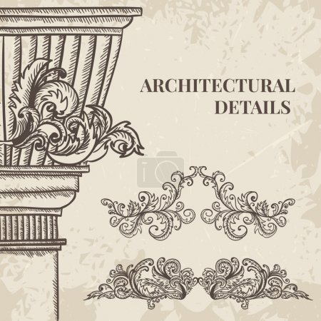 Illustration for Antique and baroque cartouche ornaments and classic style column vector set. Vintage architectural details design elements on grunge background in sketch style - Royalty Free Image