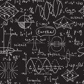 Fyzikální vzorce, grafika a vědecké výpočty na tabuli. Vintage ruka nakreslené ilustrace laboratorní bezešvé vzor