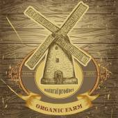 Organic farm poster with vintage windmill on the background texture of wooden boards Retro hand drawn vector illustration label in sketch style