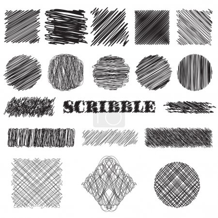 vector set of scribble brushes. Collection of ink lines, set of hand drawn textures, scribbles of pen, hatching, scratch