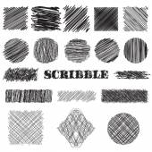 vector set of scribble brushes Collection of ink lines set of hand drawn textures scribbles of pen hatching scratch