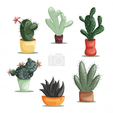 Colorful illustration of succulent plants and cactuses in pots. Vector botanical graphic set with cute florals.
