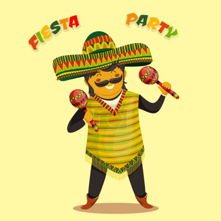 Mexican Fiesta Party Invitation with Mexican man playing the maracas in a sombrero. Hand drawn vector illustration poster. Flyer or greeting card template