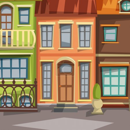 City houses facades. Vector illustration.