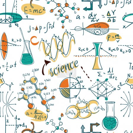 Photo for Back to School: science lab objects doodle vintage style sketches seamless pattern, vector illustration. - Royalty Free Image