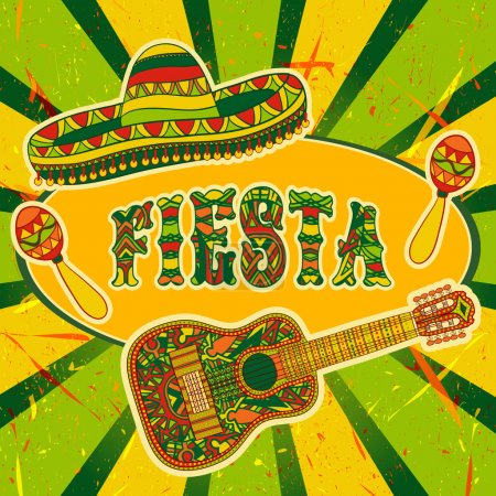 Mexican Fiesta Party Invitation with maracas, sombrero and guitar. Hand drawn vector illustration poster with grunge background
